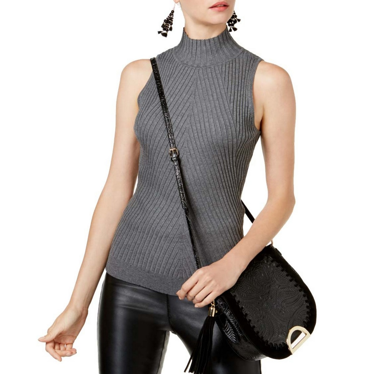 INC NEW Women/'s Fitted Sleeveless Ribbed Mock Neck Sweater Top TEDO