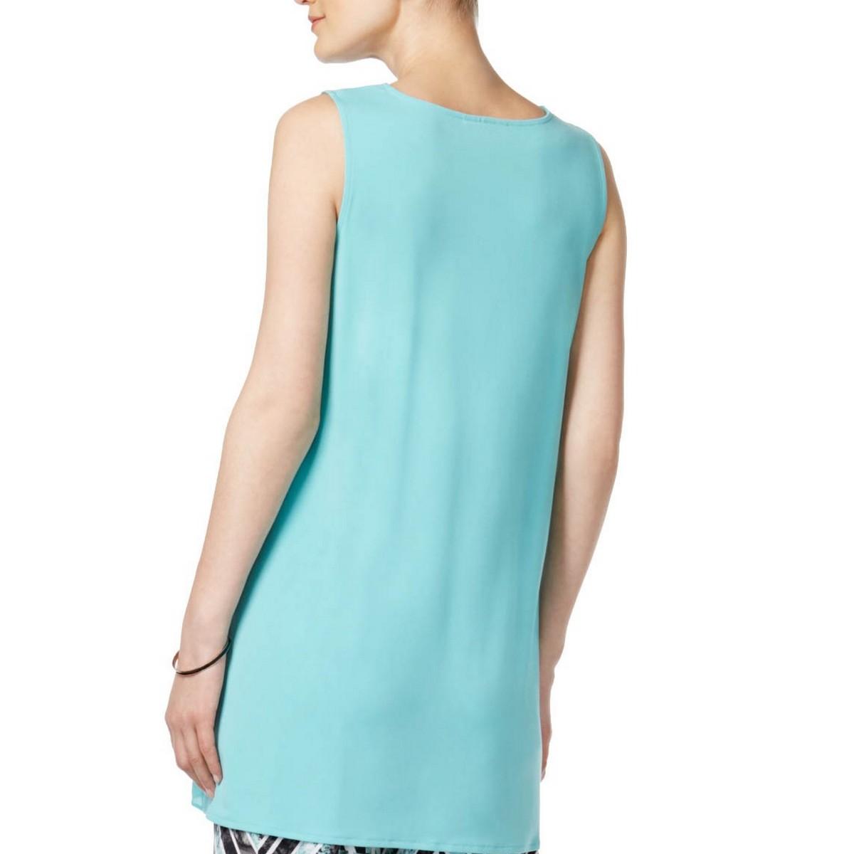 ALFANI NEW Women/'s Mixed-media Crossover Tunic Shirt Top TEDO