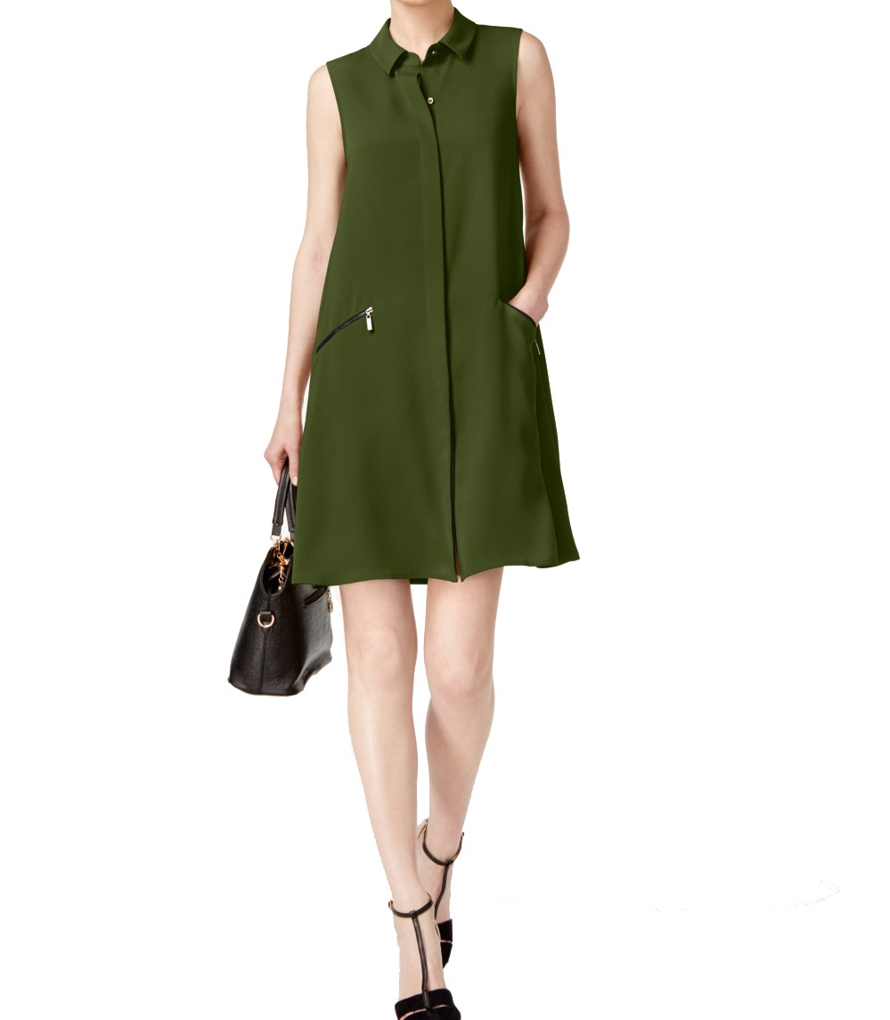 ALFANI NEW Women/'s Green Zip-pocket Shirt Dress 14 TEDO