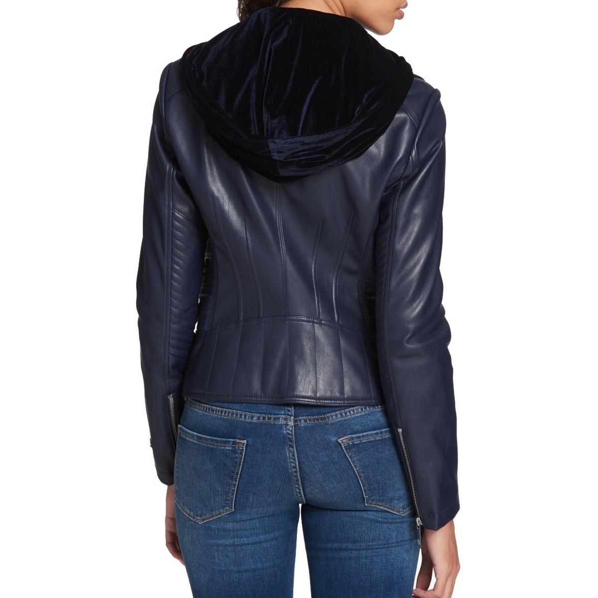 TOMMY HILFIGER Women/'s Layered-Look Velvet Hood Motorcycle Jacket Top TEDO