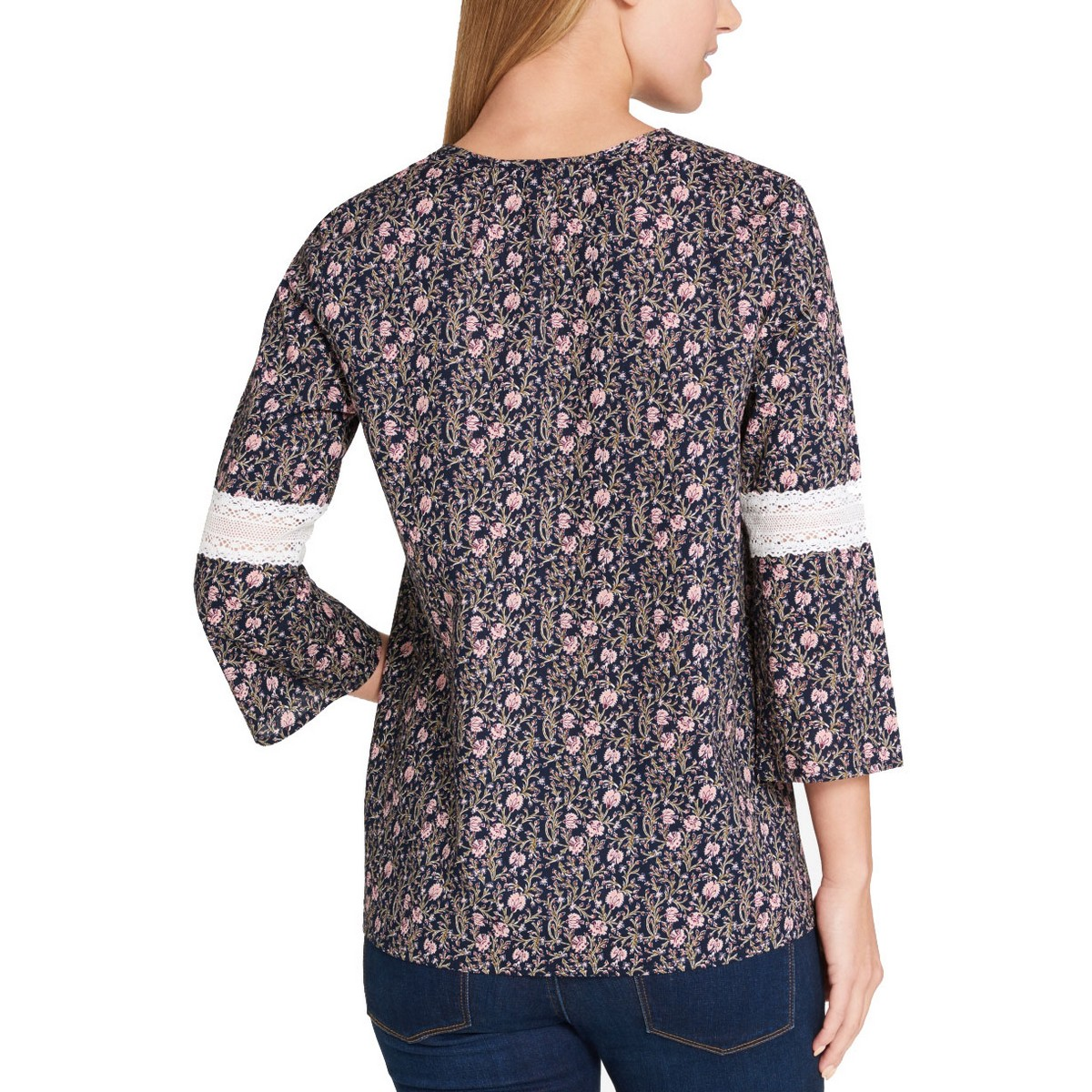 TOMMY-HILFIGER-NEW-Women-039-s-Lace-Detail-Printed-Blouse-Shirt-Top-TEDO thumbnail 8
