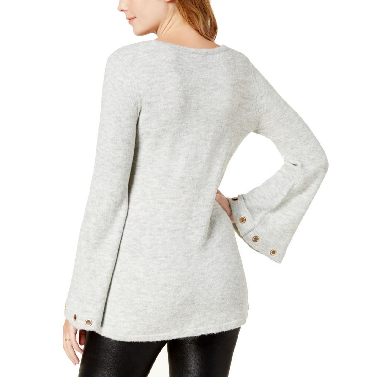 KENSIE-NEW-Women-039-s-Grommet-Bell-Sleeve-Crewneck-Sweater-Top-TEDO thumbnail 8