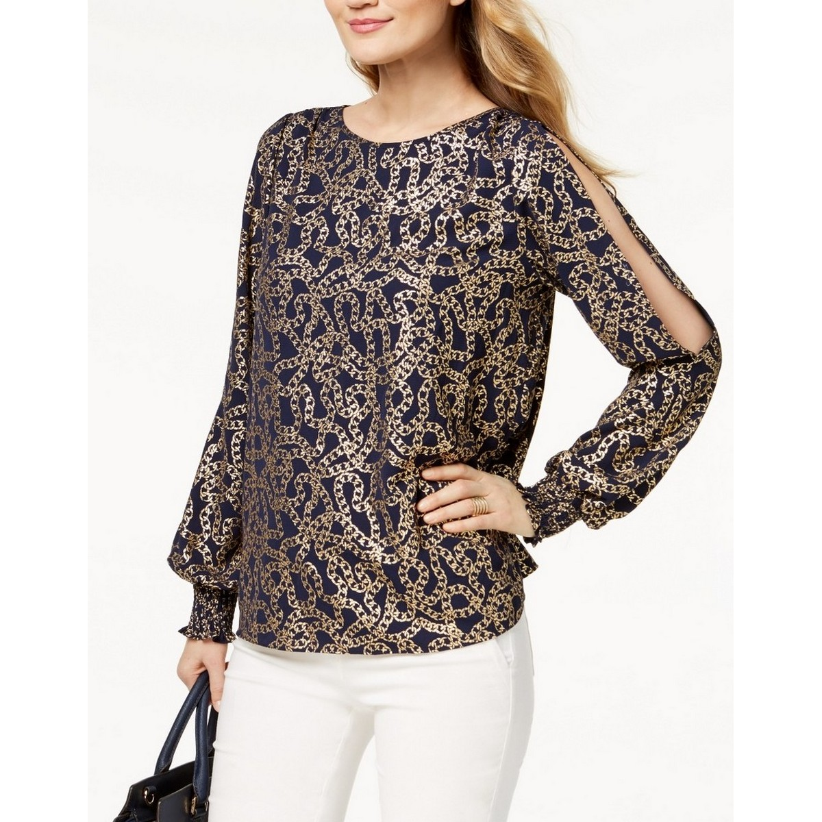 5074b02cf7b28 Details about MICHAEL KORS Women s Navy And Gold Chain-print Cold-shoulder Blouse  Top L TEDO