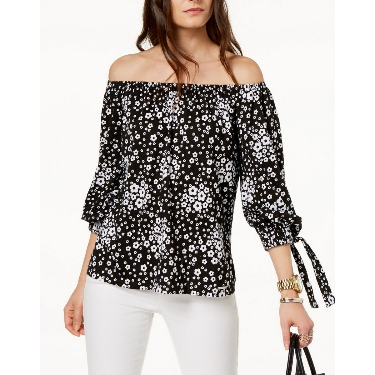 be28eb089ec Details about MICHAEL KORS NEW Women's Black & White Off Shoulder Blouse  Shirt Top P TEDO