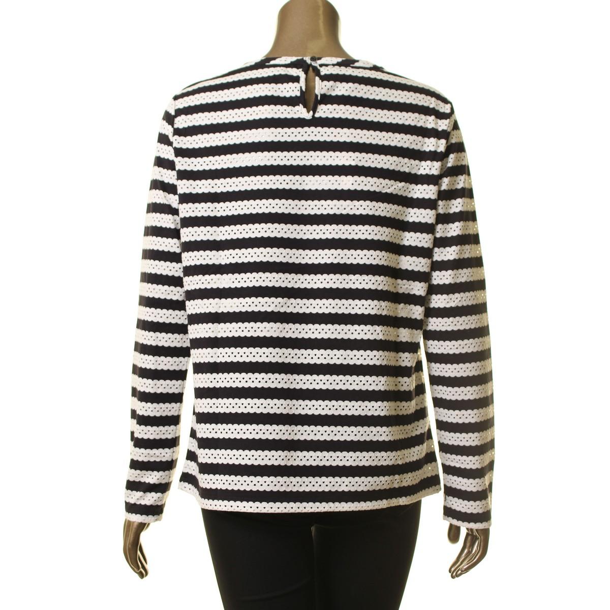ANNE-KLEIN-NEW-Women-039-s-Eyelet-Striped-Casual-Shirt-Top-TEDO thumbnail 10