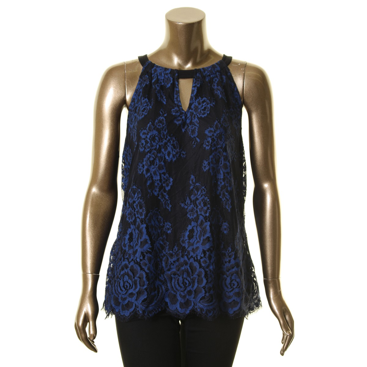 INC-NEW-Women-039-s-Black-amp-Blue-Lace-Halter-Neck-Keyhole-Blouse-Shirt-Top-TEDO thumbnail 3