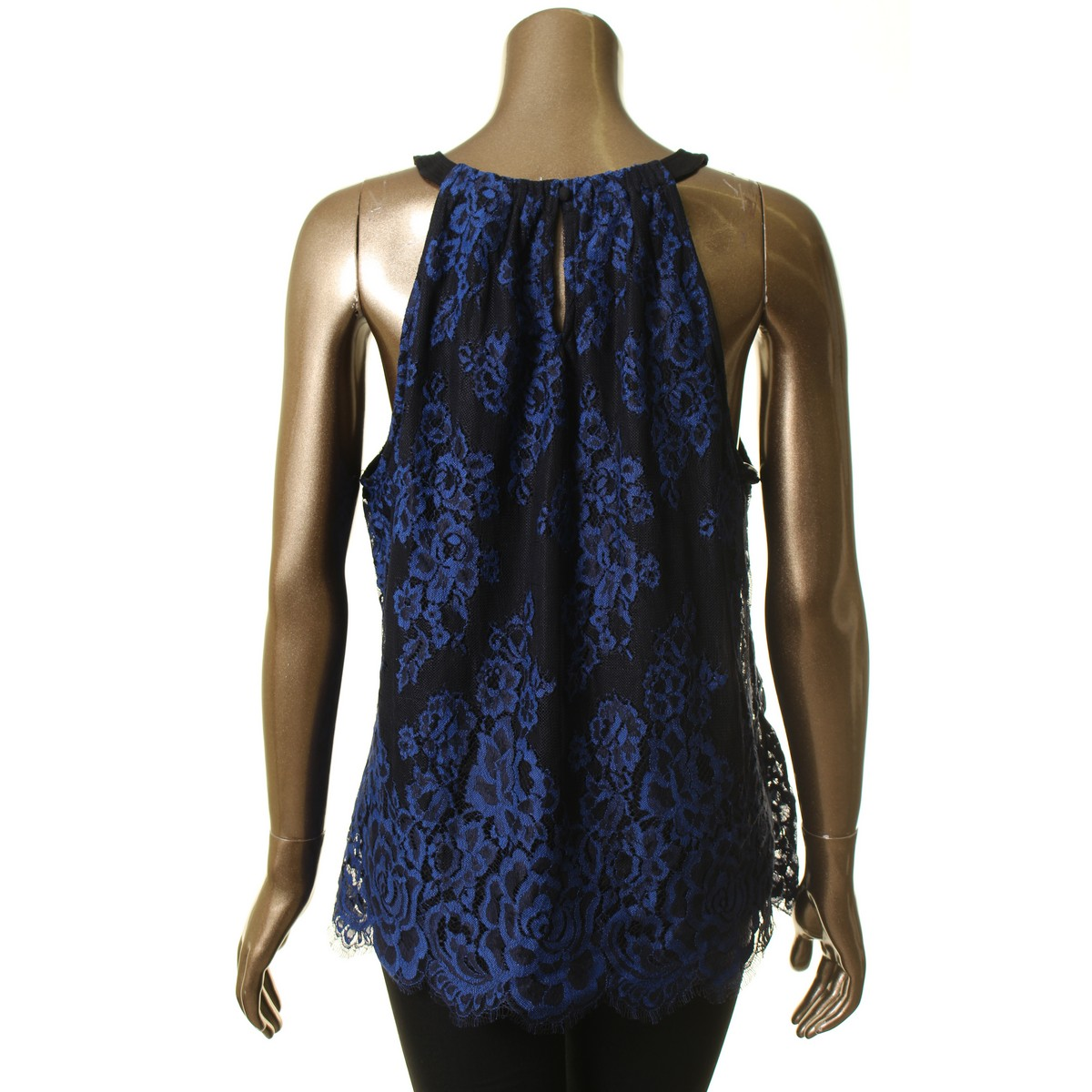 INC-NEW-Women-039-s-Black-amp-Blue-Lace-Halter-Neck-Keyhole-Blouse-Shirt-Top-TEDO thumbnail 4