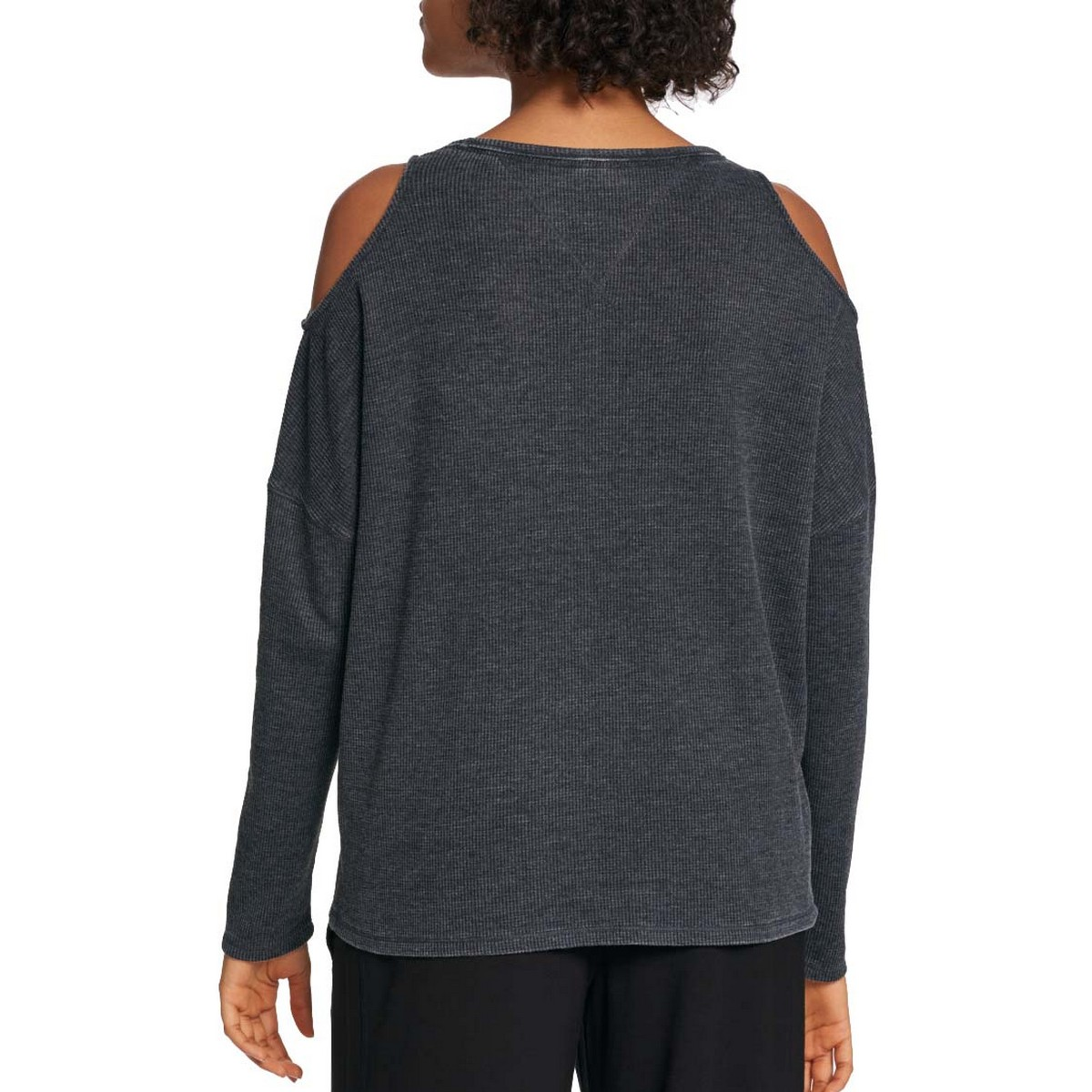 TOMMY-HILFIGER-NEW-Women-039-s-Cold-Shoulder-Waffle-Knit-Casual-Shirt-Top-TEDO thumbnail 4
