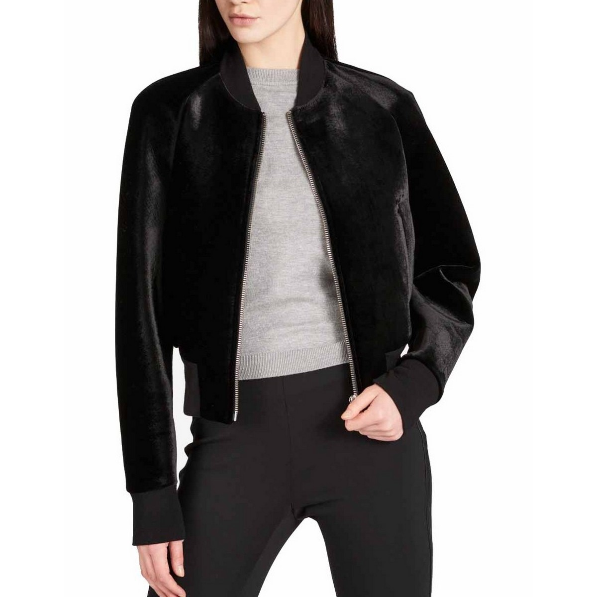 cc1bbb15f69ed Details about DKNY NEW Women's Black Zip Front Velour Bomber Jacket Top M  TEDO
