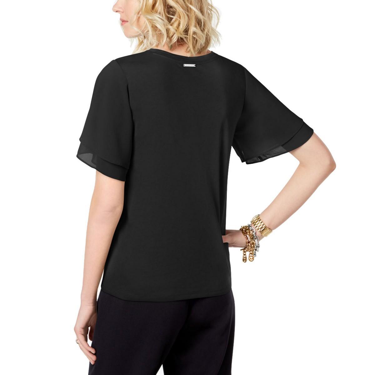 MICHAEL-KORS-NEW-Women-039-s-Tiered-Flutter-sleeve-Casual-Shirt-Top-TEDO thumbnail 4