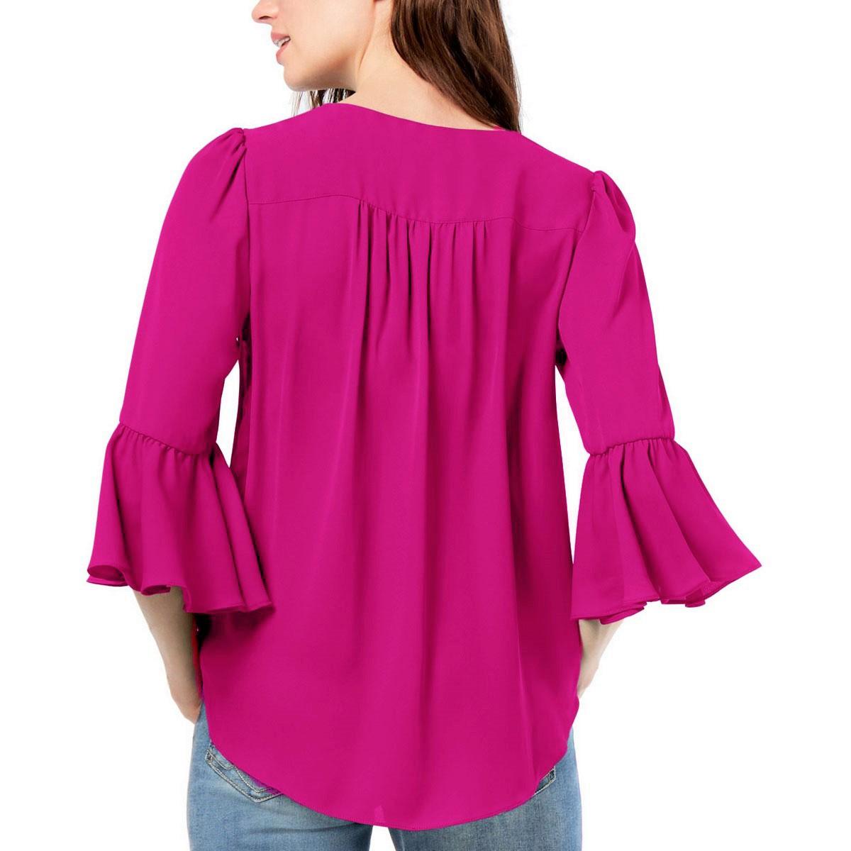INC-NEW-Women-039-s-Surplice-Bell-Sleeve-High-Low-Blouse-Shirt-Top-TEDO thumbnail 8