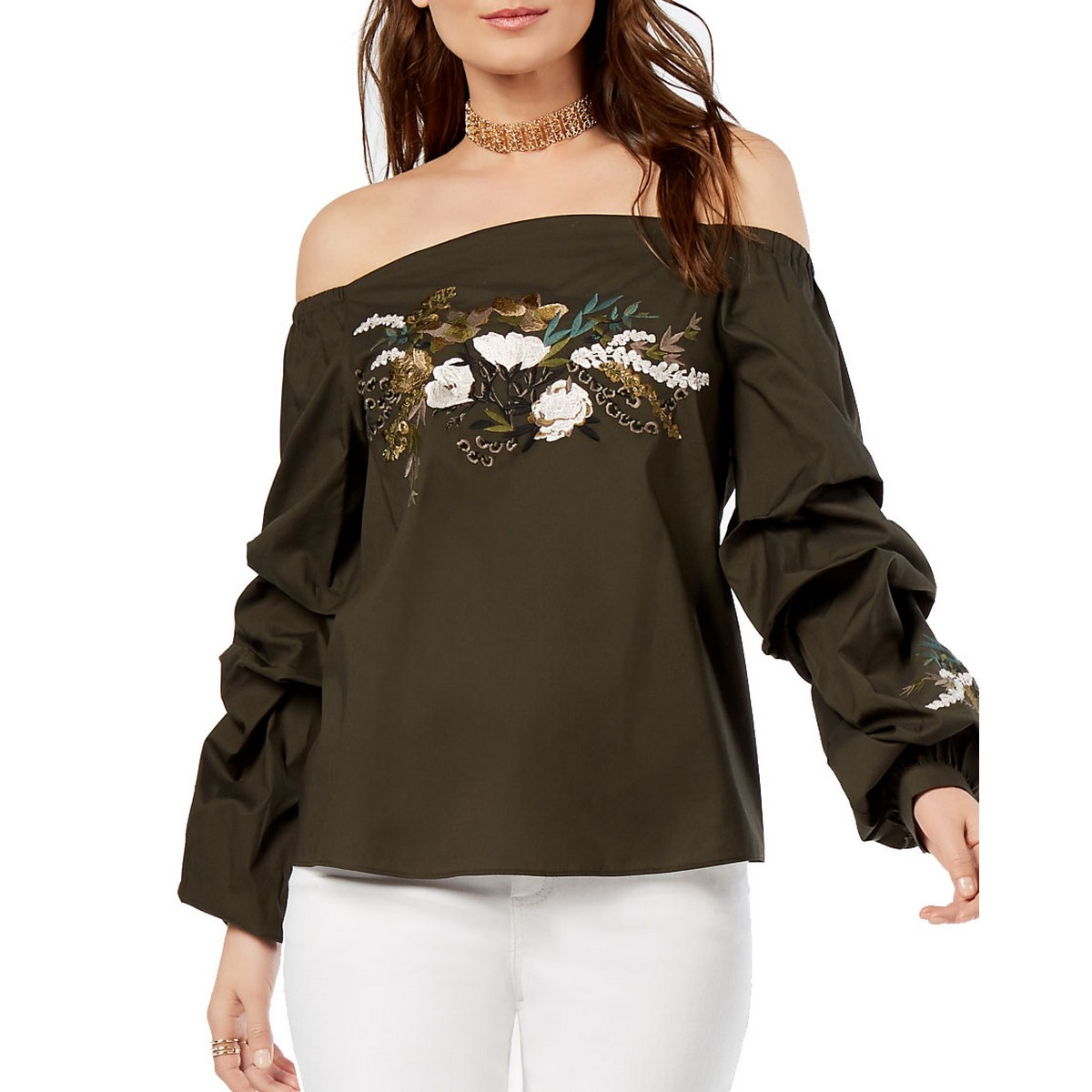 ba1e986b691 Details about INC NEW Women's Olive Green Embroidered Off Shoulder Blouse  Shirt Top XXL TEDO
