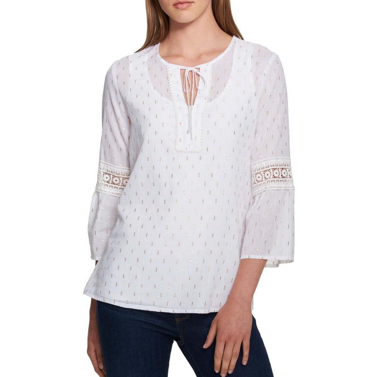 Details about TOMMY HILFIGER NEW Women's White Cotton Blend Denim Jacket Top XS TEDO