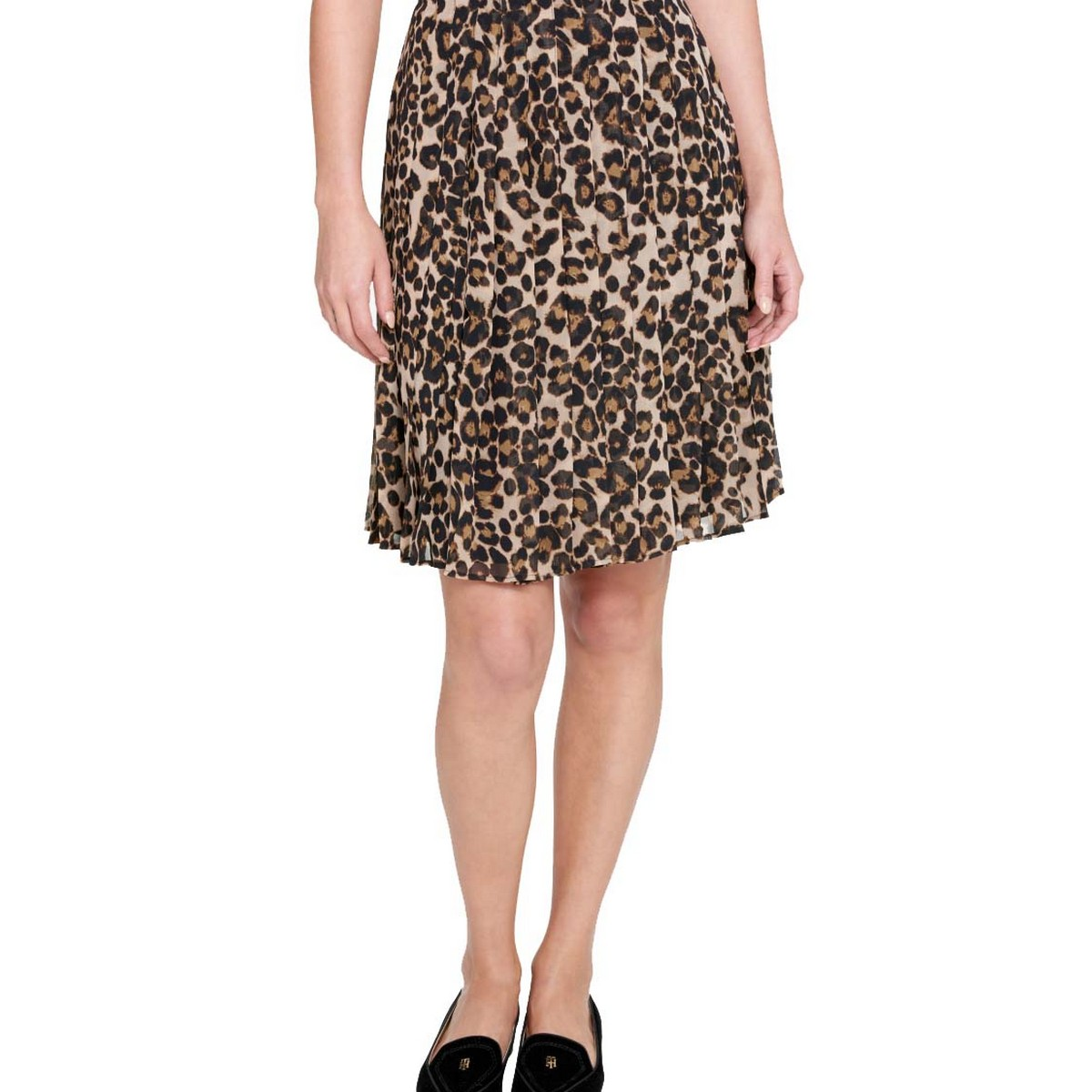 2dac3ecc74 Details about TOMMY HILFIGER NEW Women's Brown Animal Print Pleated Skirt  14 TEDO