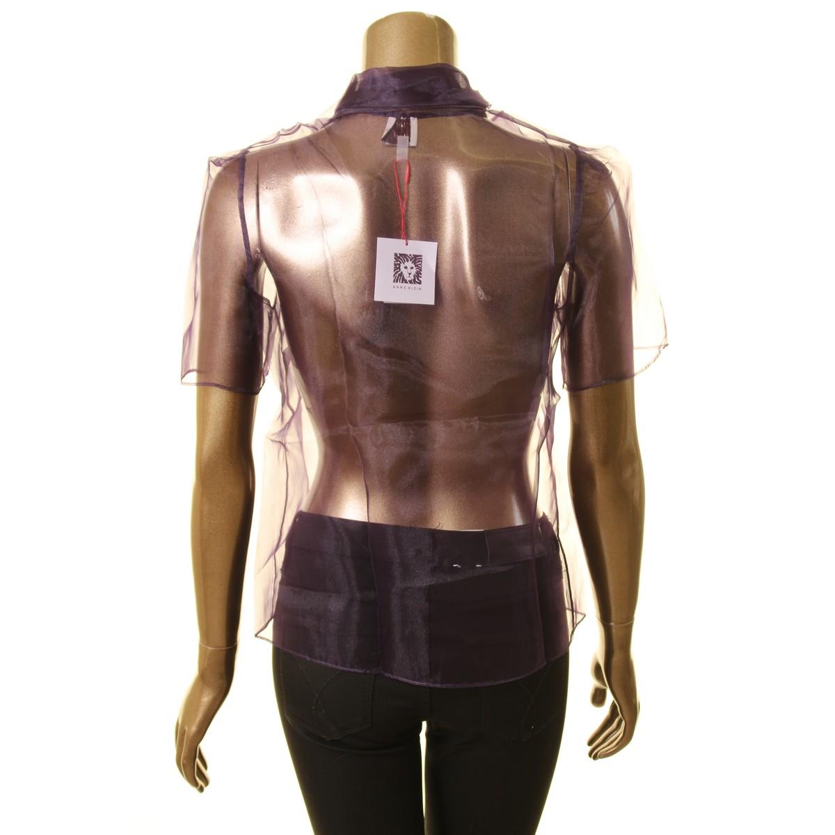 ANNE-KLEIN-NEW-Women-039-s-Short-Sleeve-Sheer-Tie-Neck-Blouse-Shirt-Top-TEDO thumbnail 6
