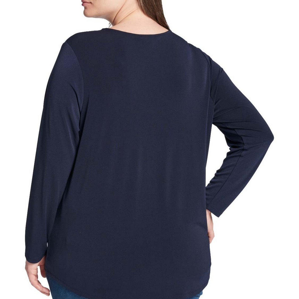 TOMMY-HILFIGER-NEW-Women-039-s-Plus-Size-Keyhole-Textured-Casual-Shirt-Top-TEDO thumbnail 5