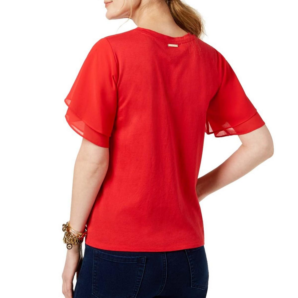 MICHAEL-KORS-NEW-Women-039-s-Tiered-Flutter-sleeve-Casual-Shirt-Top-TEDO thumbnail 6