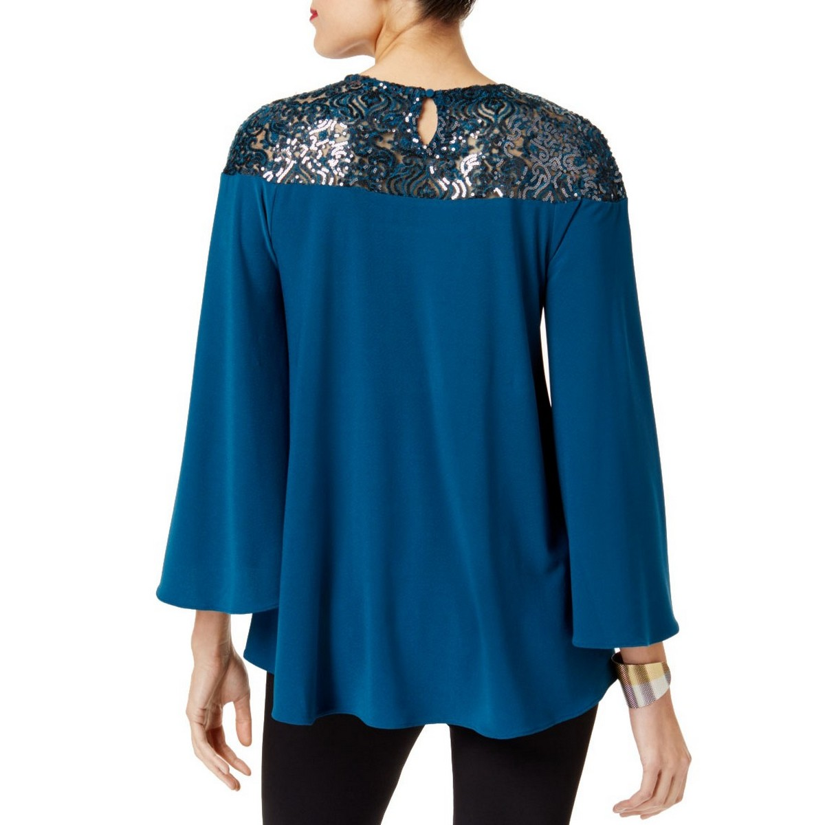 ALFANI-NEW-Women-039-s-Sequined-Bell-Sleeve-Swing-Blouse-Shirt-Top-TEDO thumbnail 4