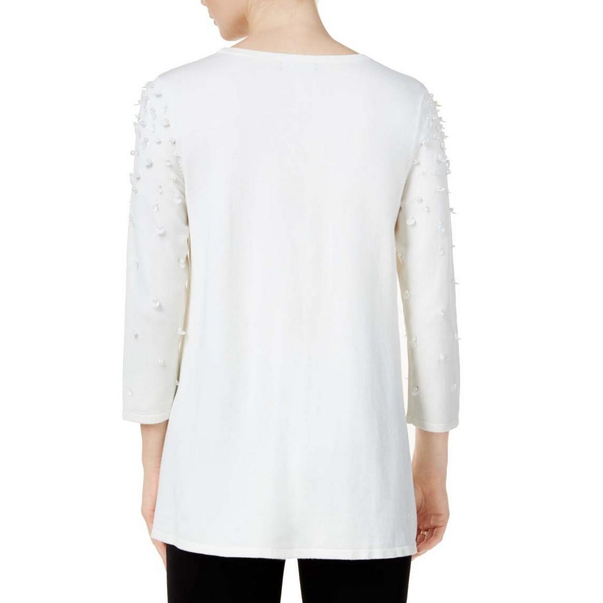 ALFANI-NEW-Women-039-s-3-4-Sleeve-Embellished-Crewneck-Sweater-Top-TEDO thumbnail 4