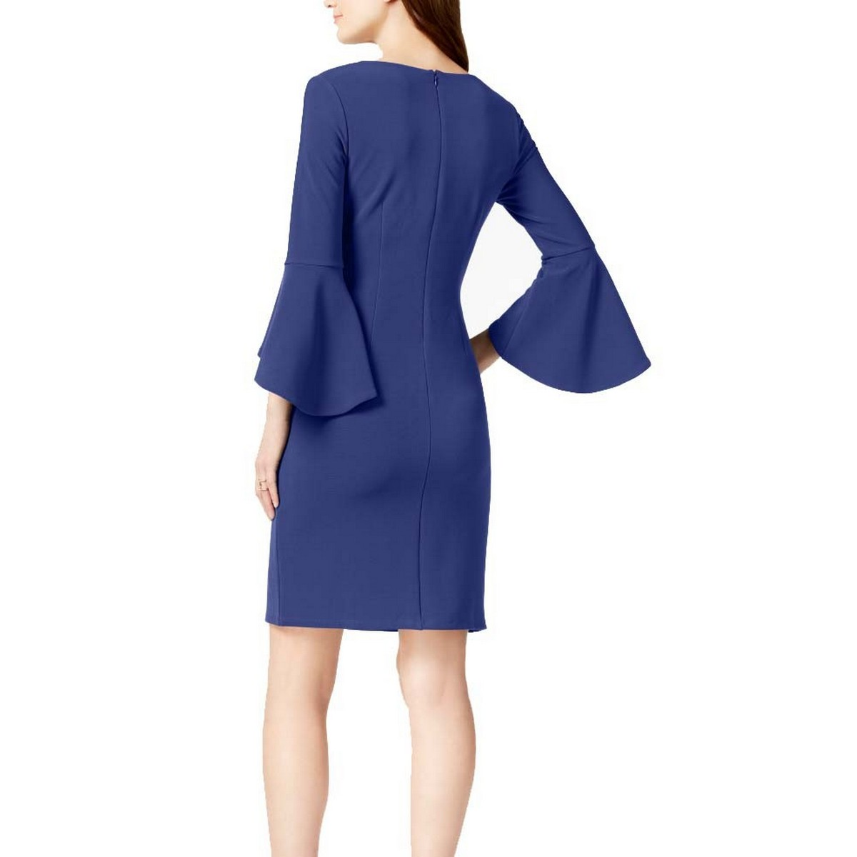 INC-NEW-Women-039-s-Textured-Bell-Sleeve-V-neck-Sheath-Dress-TEDO thumbnail 6