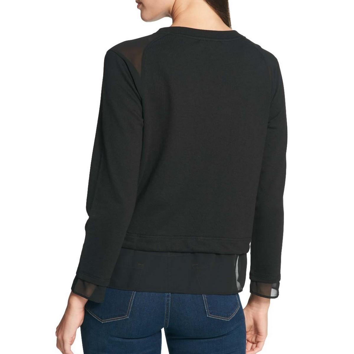 TOMMY-HILFIGER-Women-039-s-Layered-look-Sheer-Trim-Logo-Sweatshirt-Top-TEDO thumbnail 4