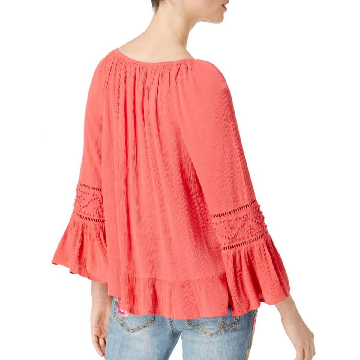 INC-NEW-Women-039-s-Bell-sleeve-Peasant-Crinkled-Blouse-Shirt-Top-TEDO thumbnail 5