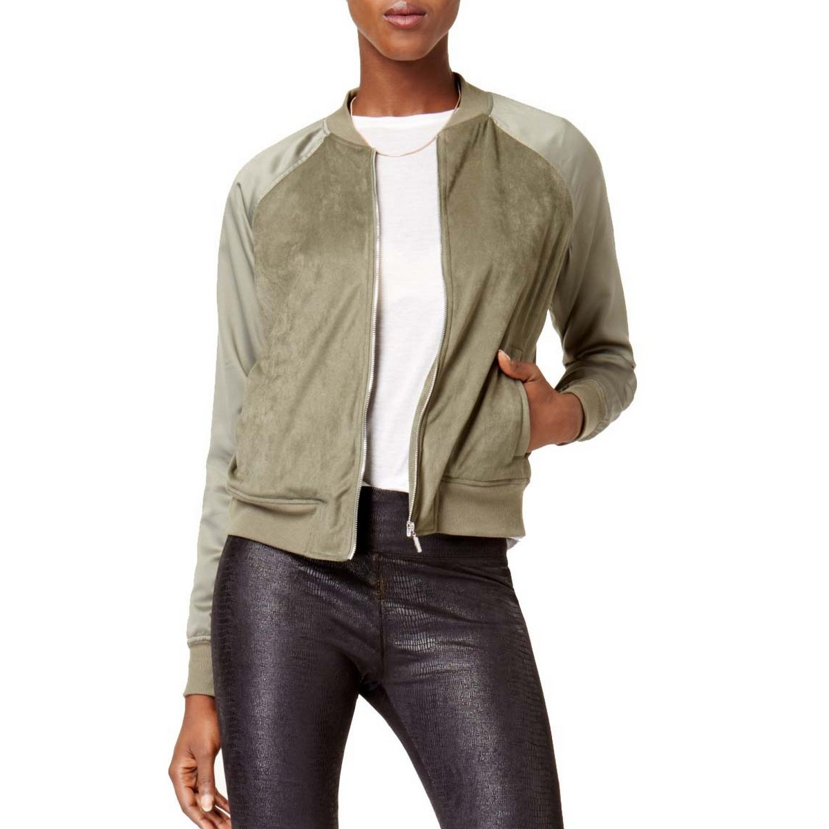 f7b226047 Details about KENSIE NEW Women's Green Faux-suede Bomber Jacket Top TEDO