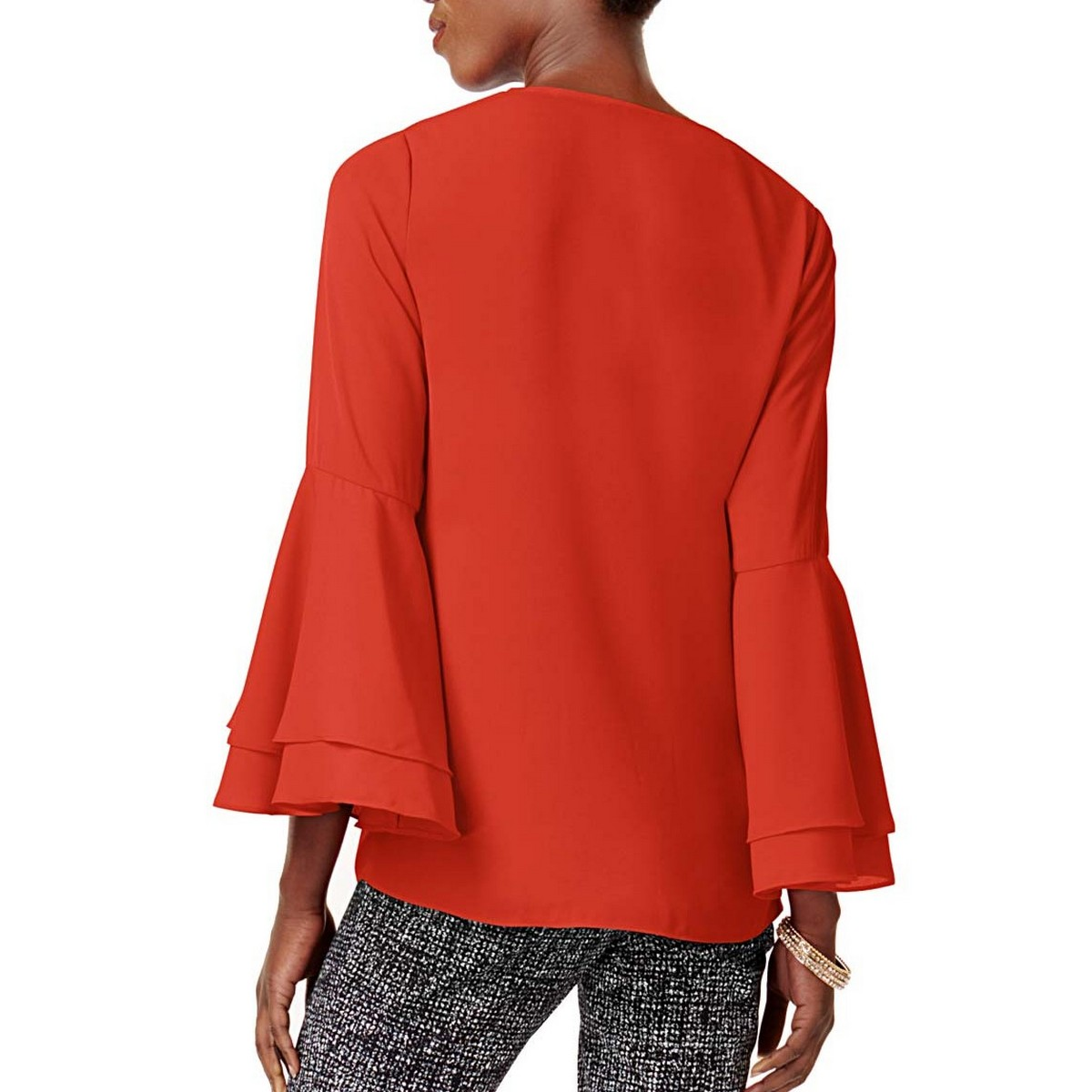 ALFANI-NEW-Women-039-s-V-neck-Bell-Sleeve-Blouse-Shirt-Top-TEDO thumbnail 4