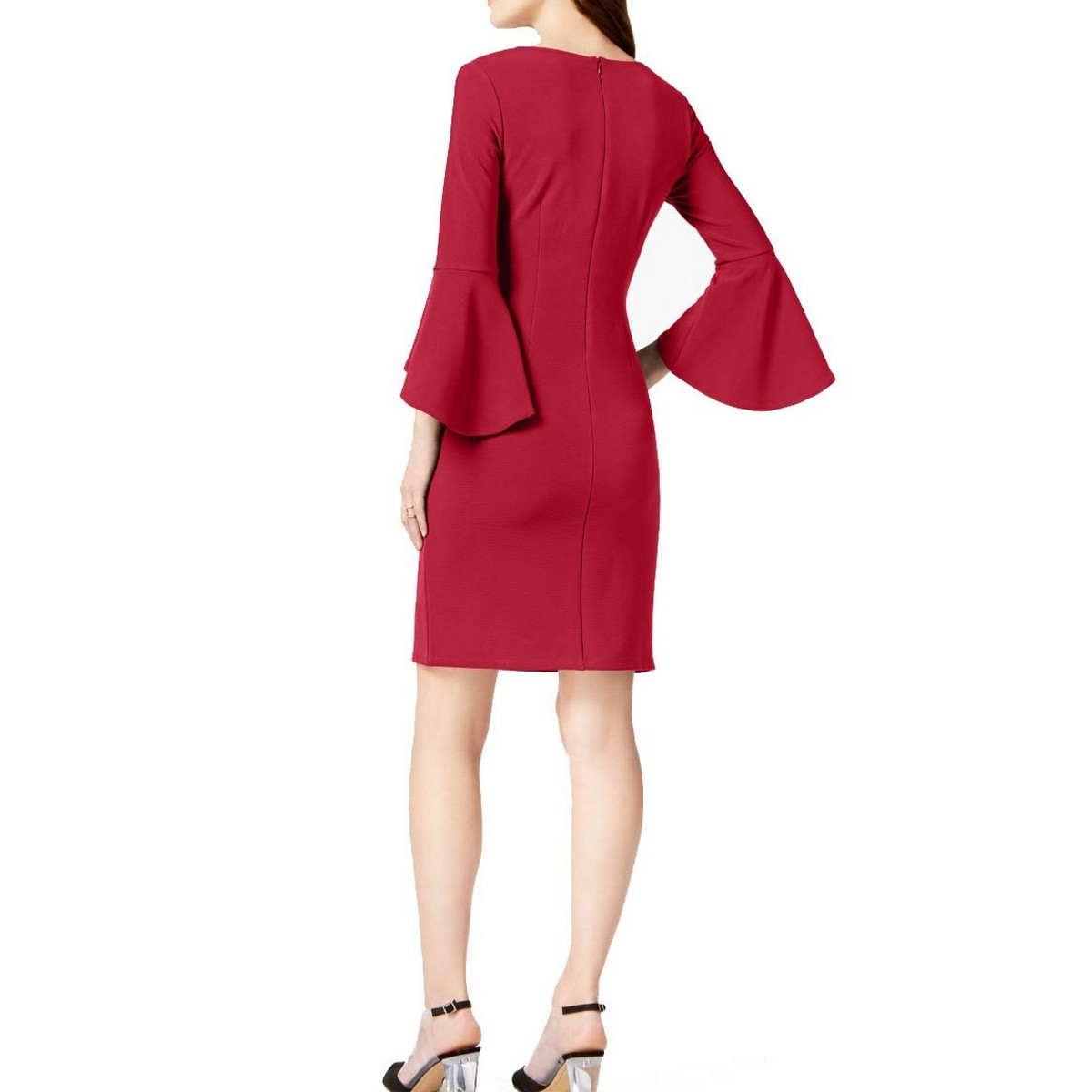 INC-NEW-Women-039-s-Textured-Bell-Sleeve-V-neck-Sheath-Dress-TEDO thumbnail 10