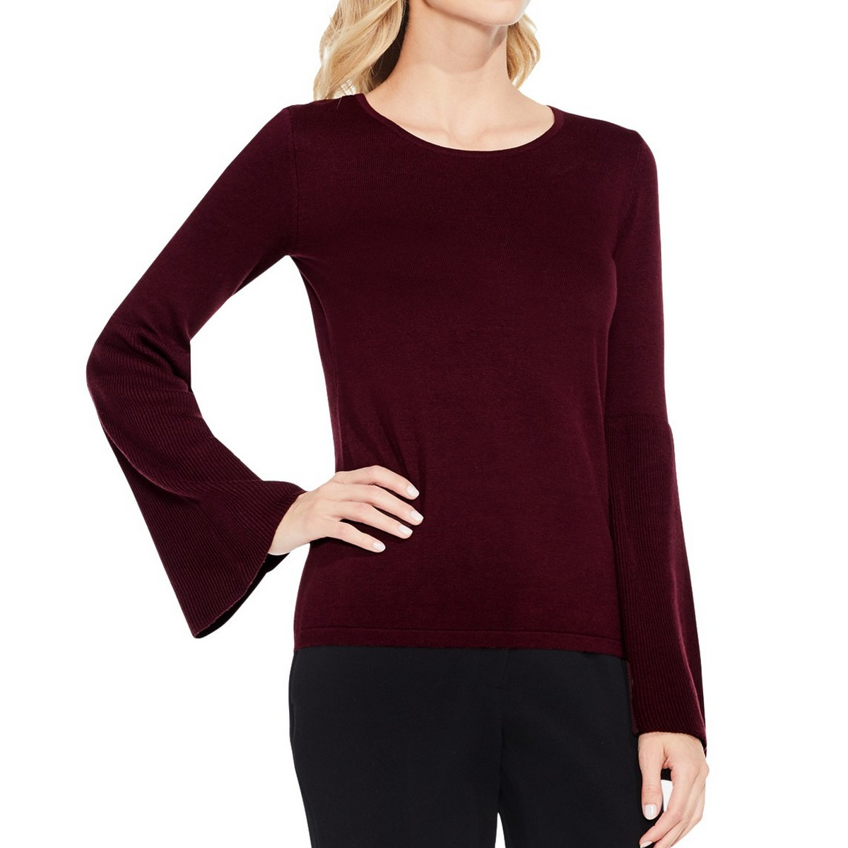 dfffa8eb8bd Details about VINCE CAMUTO NEW Women s Burgundy Bell Sleeve Crewneck Sweater  Top XS TEDO