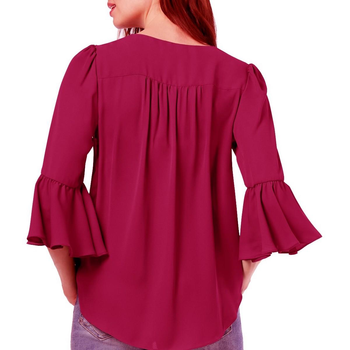 INC-NEW-Women-039-s-Surplice-Bell-Sleeve-High-Low-Blouse-Shirt-Top-TEDO thumbnail 10