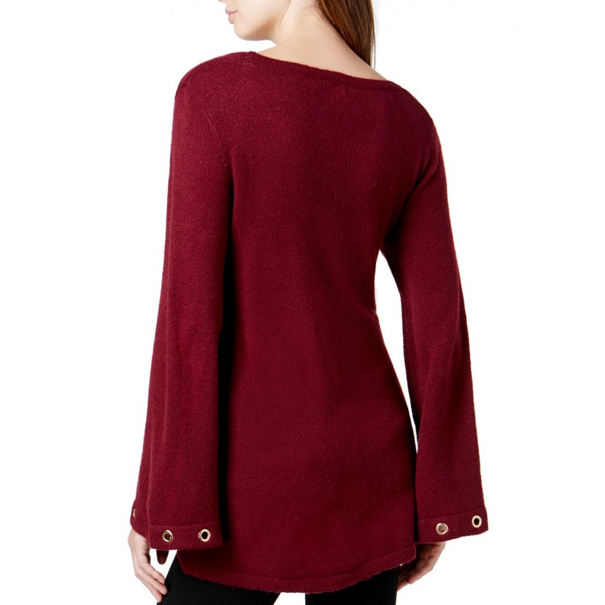 KENSIE-NEW-Women-039-s-Grommet-Bell-Sleeve-Crewneck-Sweater-Top-TEDO thumbnail 6