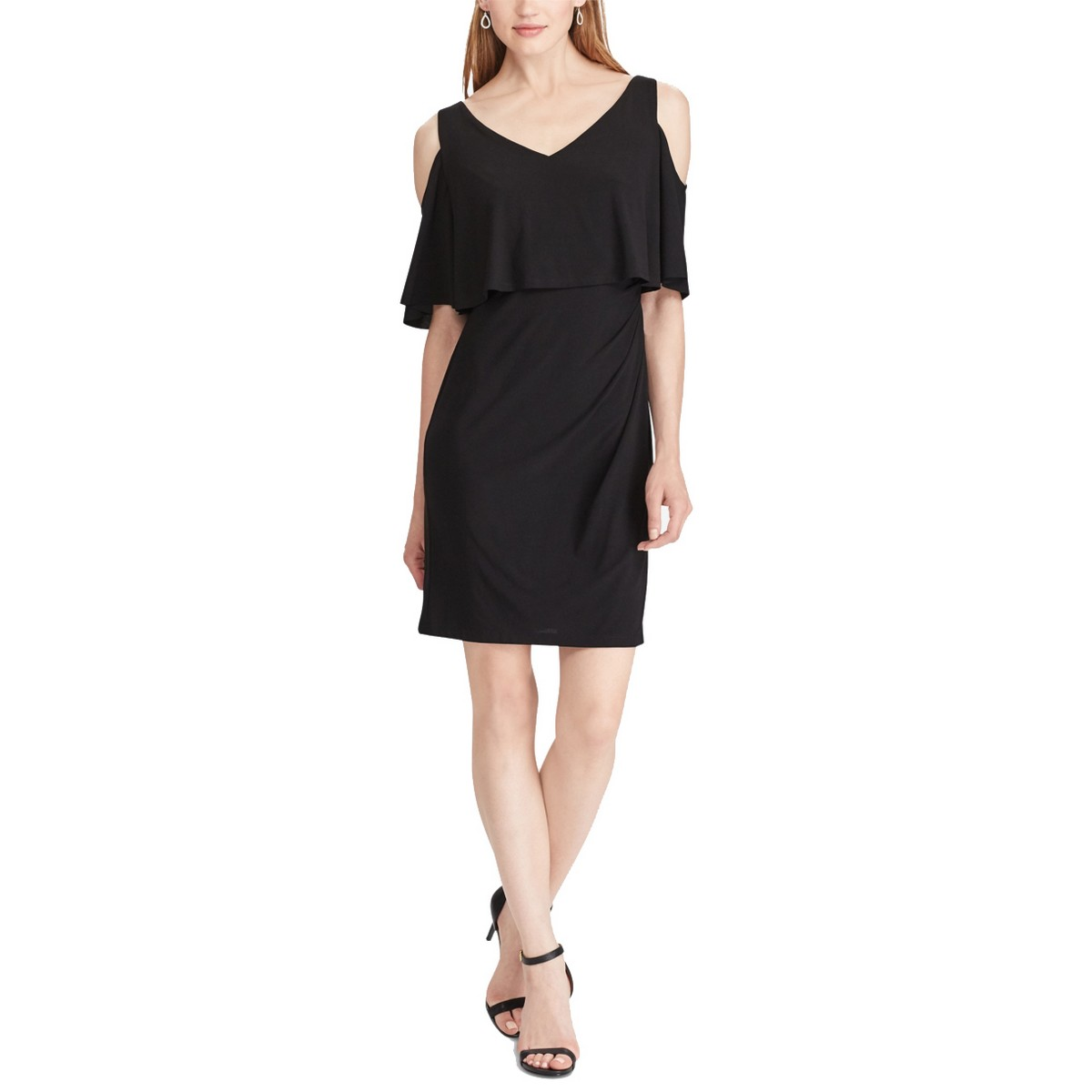 AMERICAN LIVING NEW Women/'s Black Cold-shoulder Popover A-Line Dress 10 TEDO