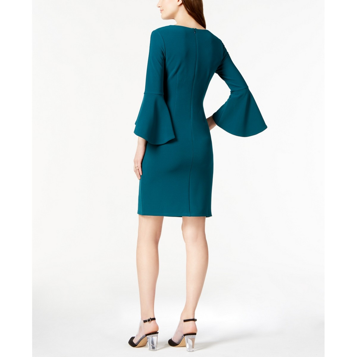 INC-NEW-Women-039-s-Textured-Bell-Sleeve-V-neck-Sheath-Dress-TEDO thumbnail 8