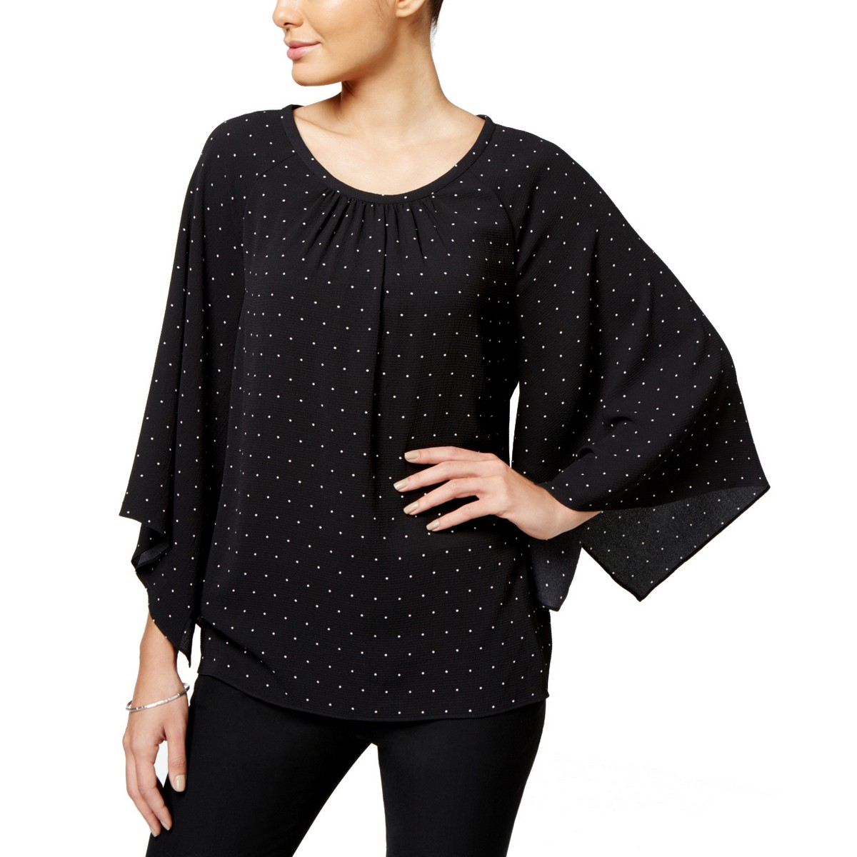 VINCE-CAMUTO-Women-039-s-Black-Polka-Dot-Pleated-Neckline-Blouse-Shirt-Top-TEDO