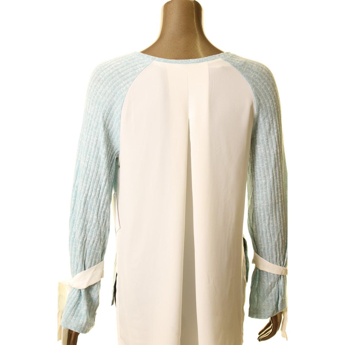 KENSIE-NEW-Women-039-s-Tie-Sleeve-Ribbed-Chiffon-Back-Knit-Shirt-Top-TEDO thumbnail 5