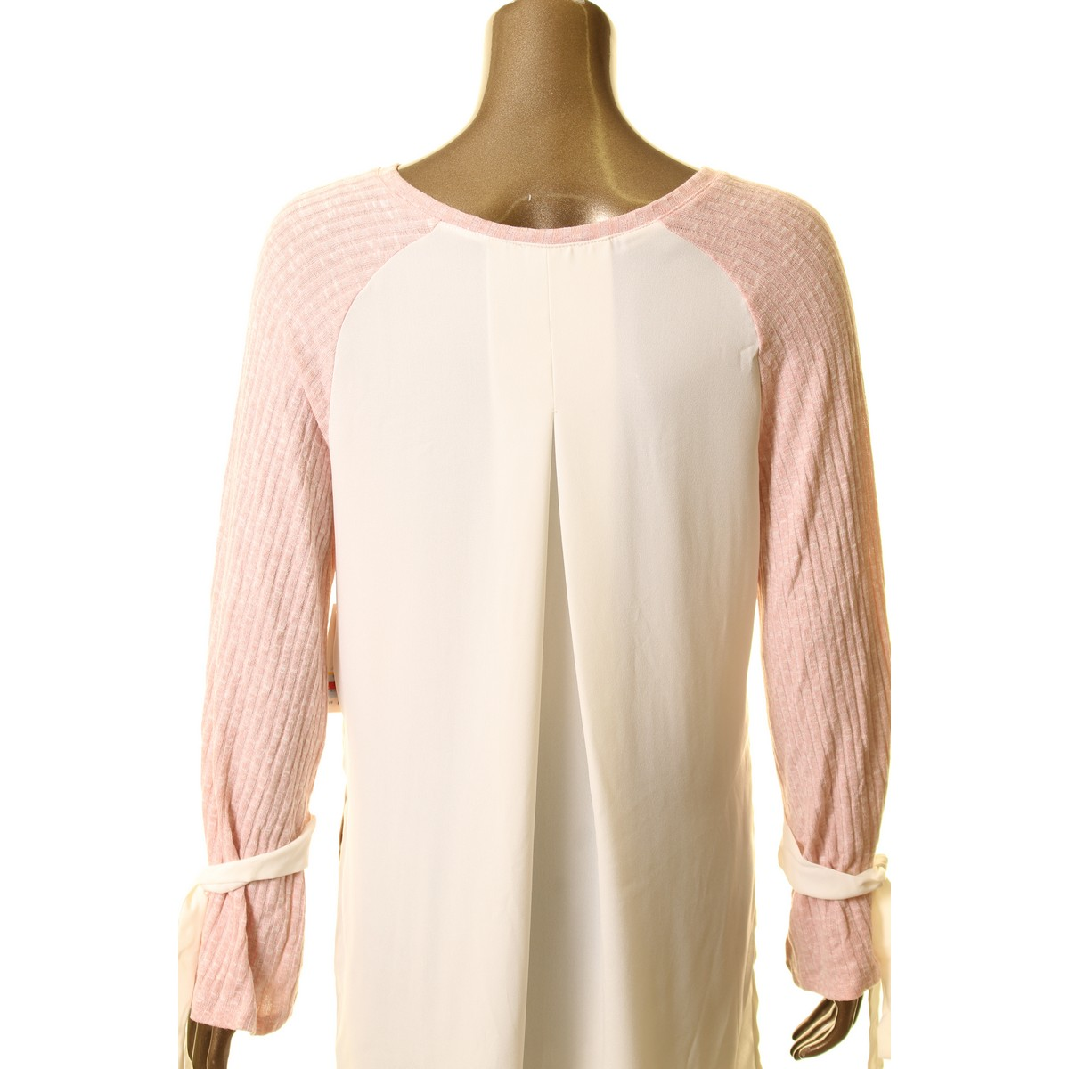KENSIE-NEW-Women-039-s-Tie-Sleeve-Ribbed-Chiffon-Back-Knit-Shirt-Top-TEDO thumbnail 8