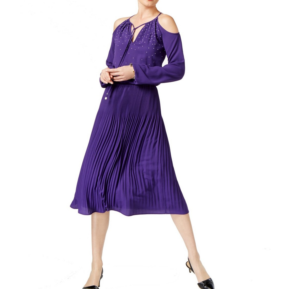 4105c0fb7db5 Detalles de Michael Kors Nueva,para Dama Iris Adornado Hombros Descubiertos  Vestido Línea en