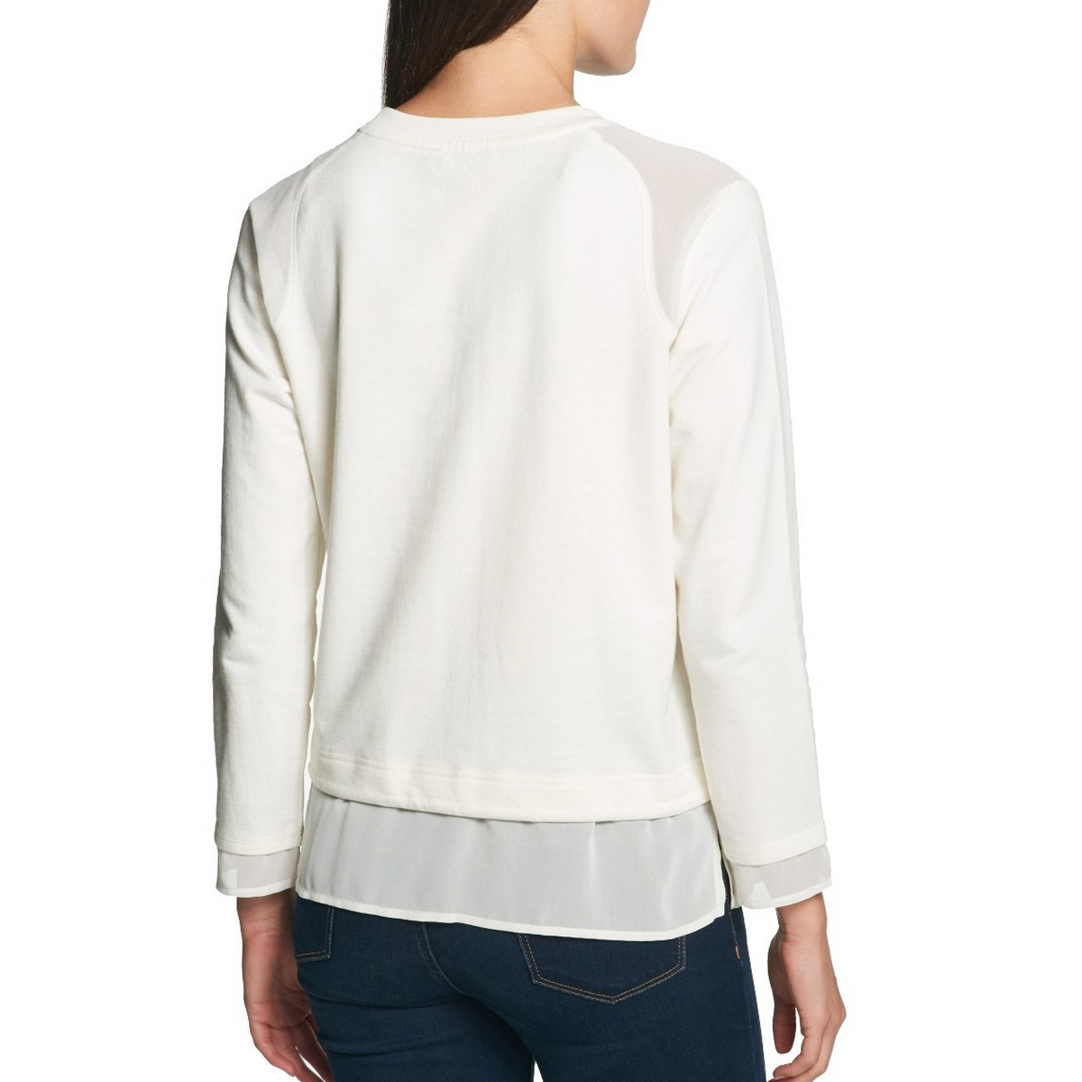 TOMMY-HILFIGER-Women-039-s-Layered-look-Sheer-Trim-Logo-Sweatshirt-Top-TEDO thumbnail 6