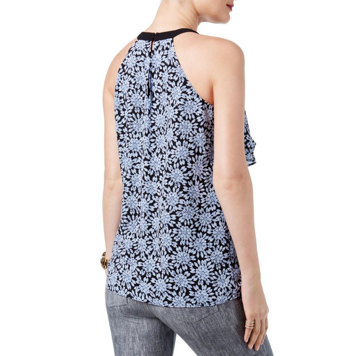 MICHAEL-KORS-Women-039-s-Black-Ruffled-Printed-Flounce-Halter-Blouse-Shirt-Top-TEDO thumbnail 4