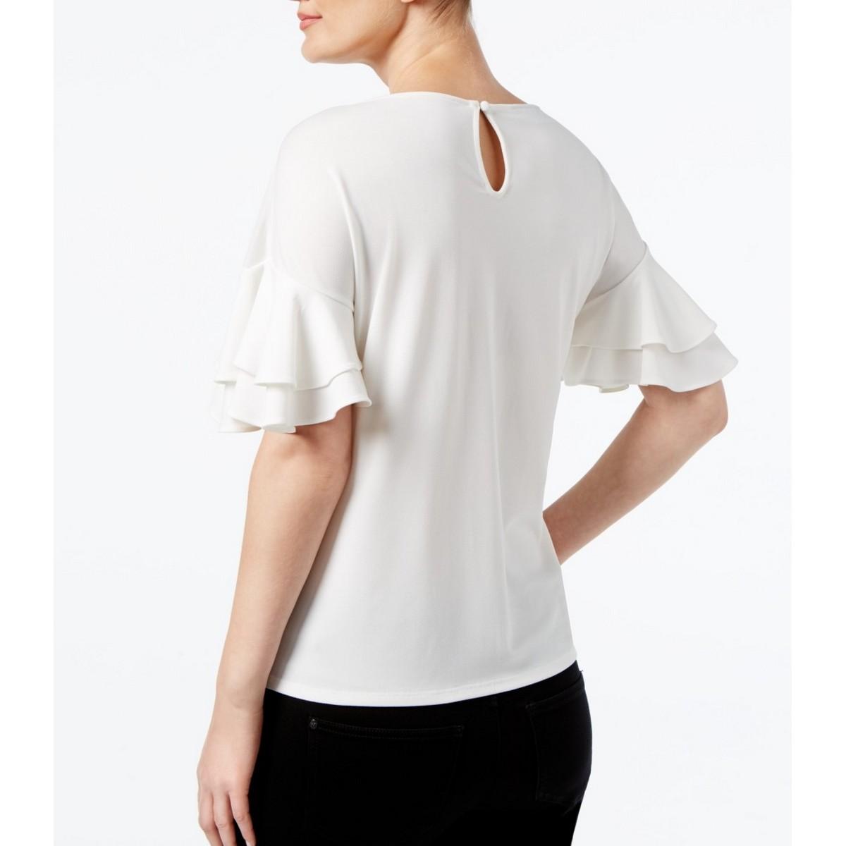 INC-NEW-Women-039-s-Ruffled-sleeve-Blouse-Shirt-Top-TEDO thumbnail 3