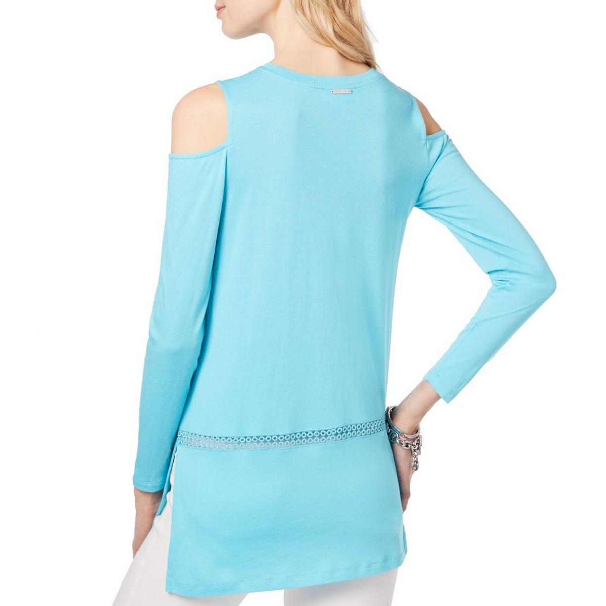 MICHAEL-KORS-NEW-Women-039-s-Turquoise-Cold-shoulder-Casual-Shirt-Top-XS-TEDO thumbnail 6