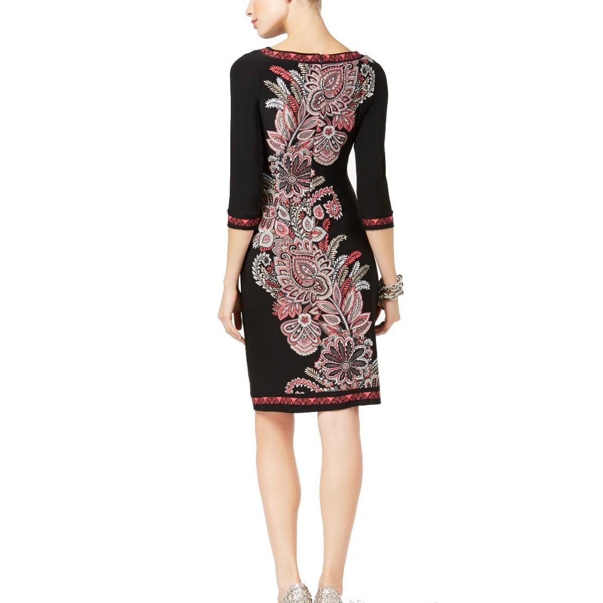 INC-NEW-Women-039-s-Paisley-Printed-3-4-Sleeve-Sheath-Dress-TEDO thumbnail 3