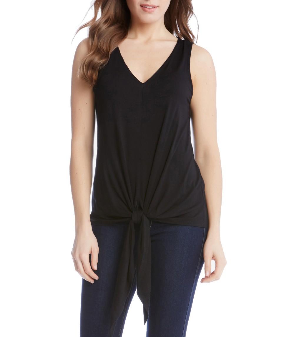 24bc09b412a8f3 KAREN KANE NEW Women's Black Tie-front V-neck Tank, Cami Shirt Top ...