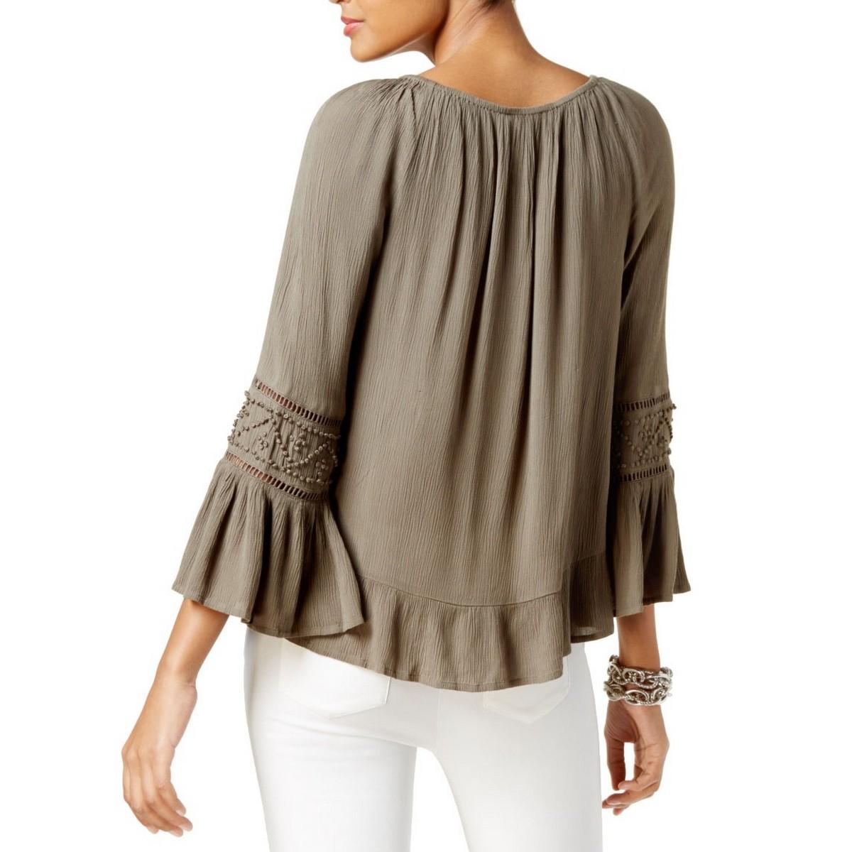 INC-NEW-Women-039-s-Bell-sleeve-Peasant-Crinkled-Blouse-Shirt-Top-TEDO thumbnail 7