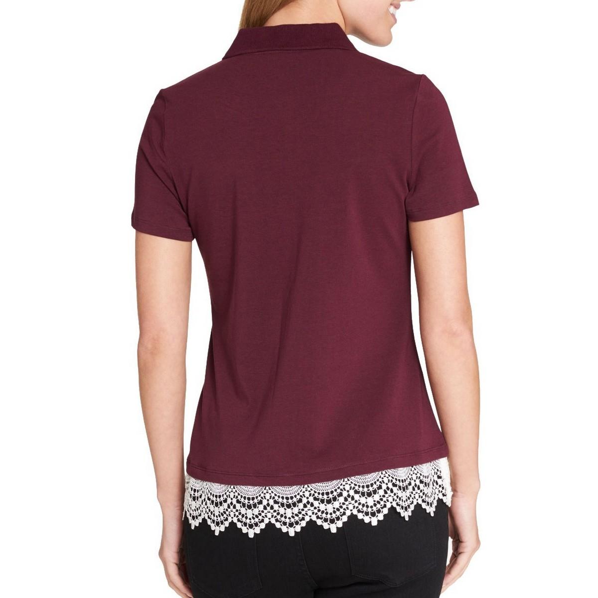 TOMMY-HILFIGER-NEW-Women-039-s-Lace-Trim-Polo-Shirt-Top-TEDO thumbnail 4