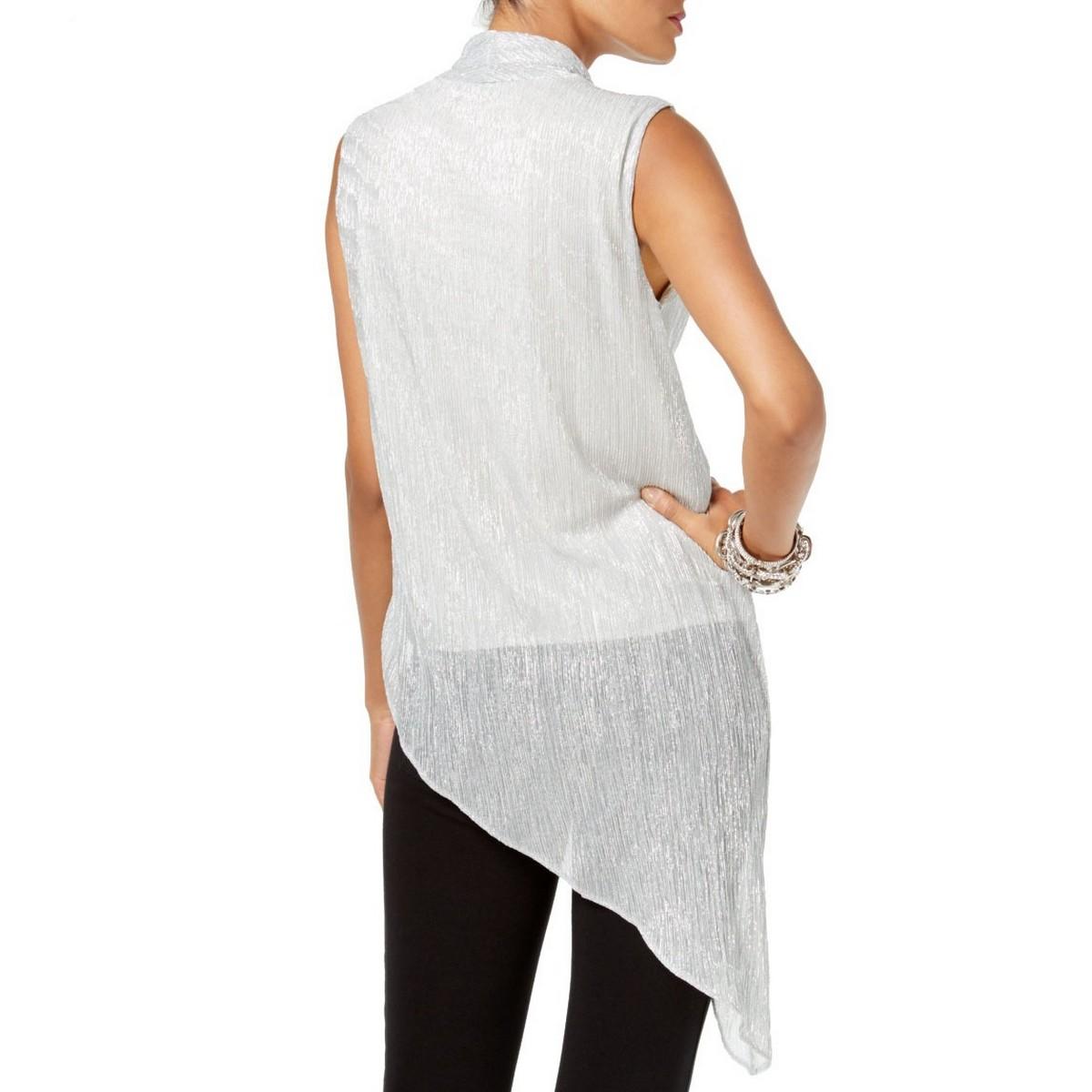ALFANI-NEW-Women-039-s-Asymmetrical-hem-Faux-wrap-Tunic-Shirt-Top-TEDO thumbnail 6