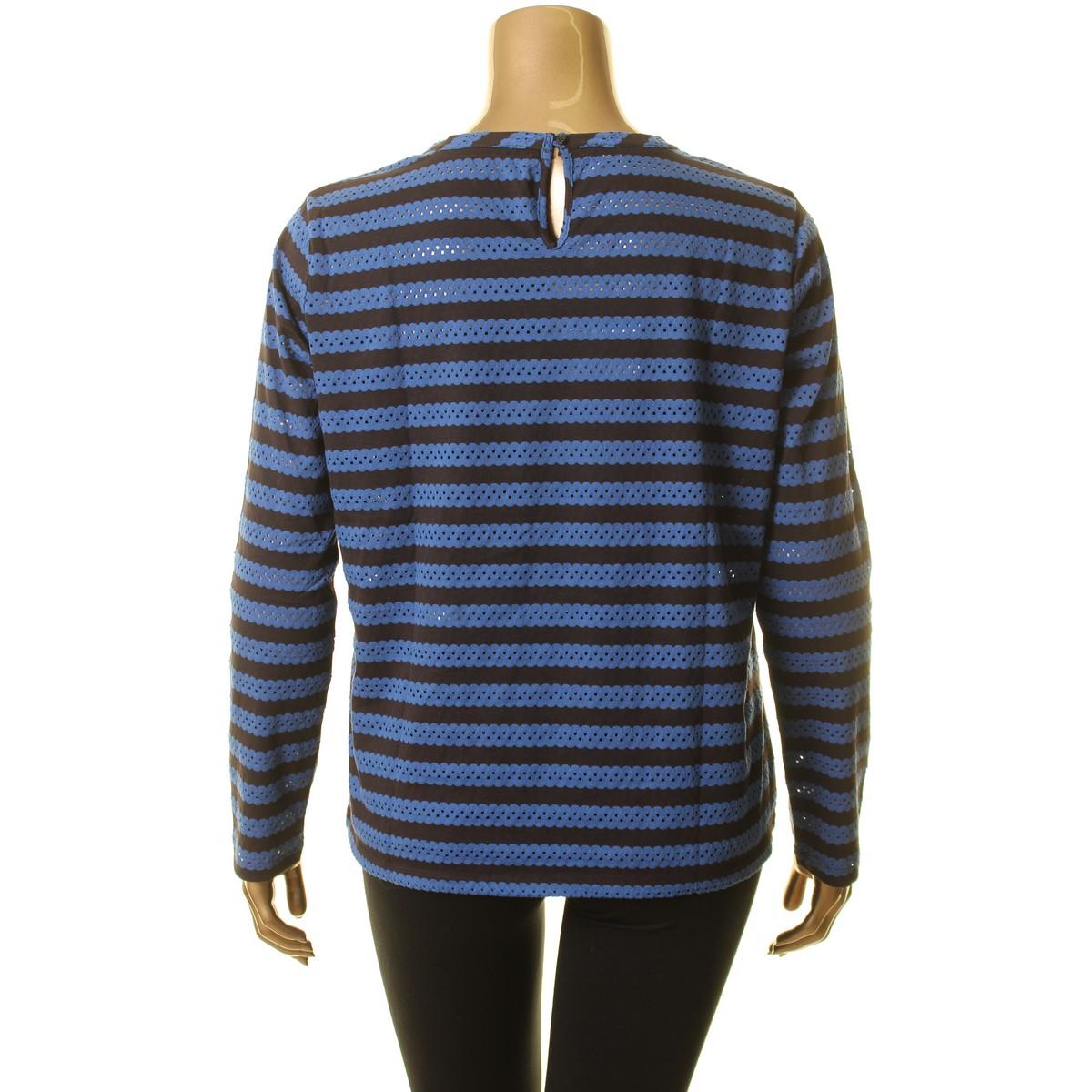 ANNE-KLEIN-NEW-Women-039-s-Eyelet-Striped-Casual-Shirt-Top-TEDO thumbnail 4