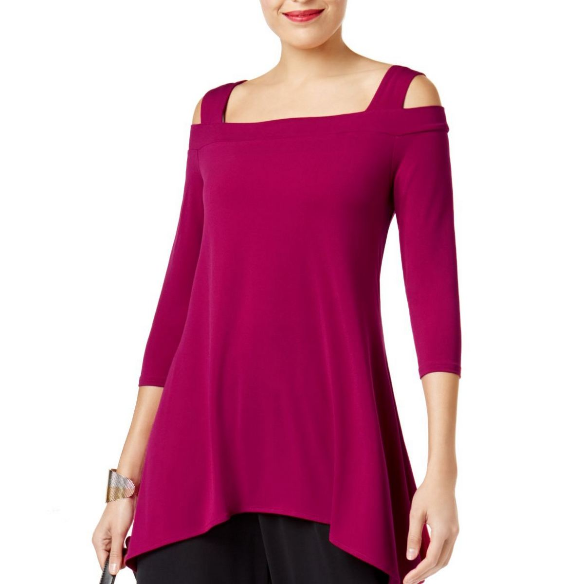 5812867a199 Details about ALFANI Women's Magenta Jersey Cold Shoulder Pullover High-low  Tunic Top XL TEDO