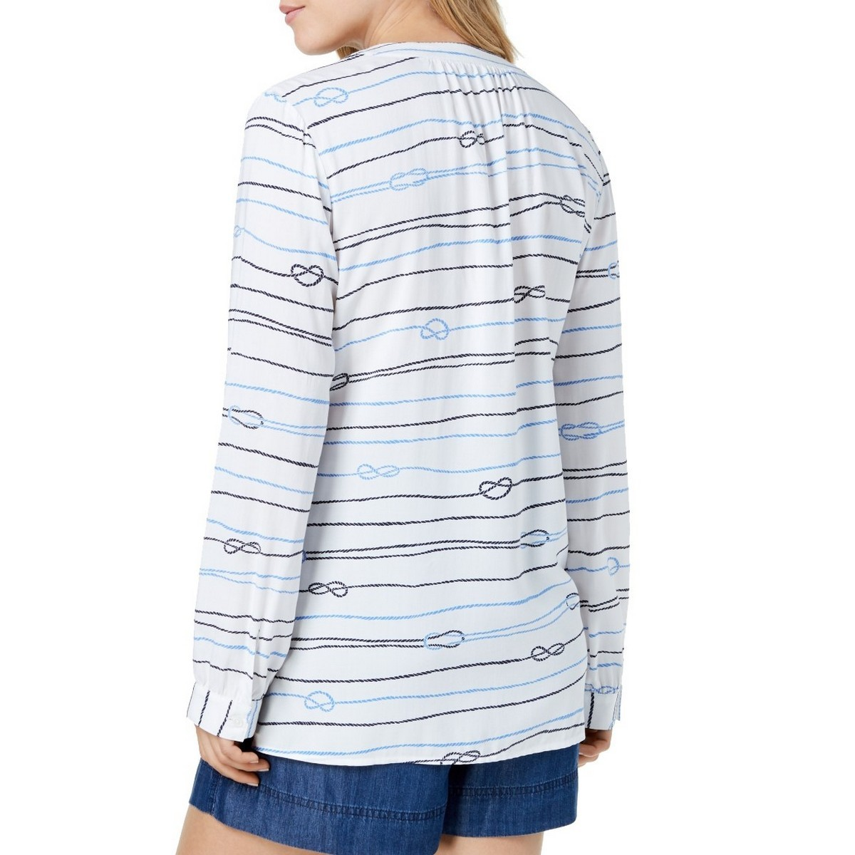 TOMMY-HILFIGER-NEW-Women-039-s-Printed-Lace-up-Blouse-Shirt-Top-TEDO thumbnail 4